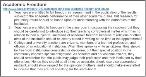 Text box, Definition of Academic Freedom